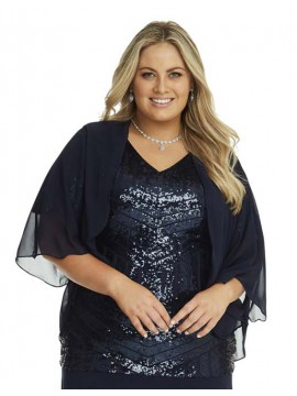 Chiffon Shrug in Navy